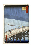 Evening Shower at Atake and the Great Bridge, 1856-1858 Giclee Print by Utagawa Hiroshige