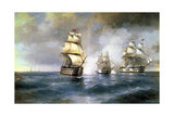 Brig Mercury Attacked by Two Turkish Ships on May 14th, 1829, 1892 Giclee Print by Ivan Konstantinovich Aivazovsky
