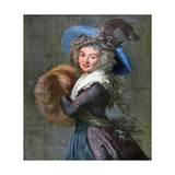 Woman with a Fur Muff, 1892 Giclée-Druck von Elisabeth Louise Vigee-LeBrun