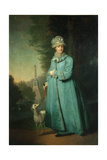 Catherine II Strolling in the Park at Tsarskoye Selo with the Chesme Column in the Background, 1794 Giclee Print by Vladimir Lukich Borovikovsky