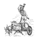 Thor Riding in Chariot Drawn by Goats and Wielding His Hammer - Giclee Baskı