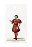 Wolsey's Secretary, Costume Design for Shakespeare's Play, Henry VIII, 19th Century Giclee Print