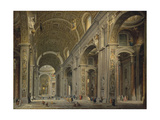 Interior of the Basilica of Saint Peter in Rome, 1750S Giclee Print by Giovanni Paolo Panini