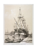 Ship in the East India Docks, London, C1840 Giclee Print by Edmund Patten