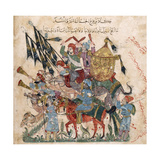 Caravan of Pilgrims in Ramleh (From a Manuscript of Maqâmât of Al-Harîr), 1237 Giclee Print by Yahya ibn Mahmud Al-Wasiti