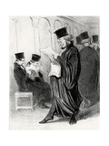 Lawyer Chabotard While Reading in a Legal Journal a Eulogy on Himself, 1846 Giclee Print by Honoré Daumier