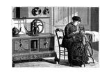Domestic Sewing Machine Powered by Steam, 1883 Giclee Print