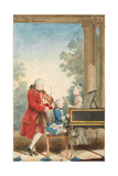 Portrait of Wolfgang Amadeus Mozart Playing in Paris with His Father Johann Georg Leopold Giclee Print by Louis Carmontelle