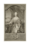 Portrait of Johanna-Elizabeth, Electress of Anhalt-Zerbst (1712-176), Mother of Catherine II, 1756 Giclee Print by Johann Martin Bernigeroth