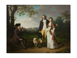 Niels Ryberg with His Son Johan Christian and His Daughter-In-Law Engelke, Née Falbe, 1797 Giclee Print by Jens Juel