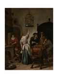 Interior with a Woman Feeding a Parrot Two Men Playing Backgammon and Other Figures, 1670 Giclee Print by Jan Havicksz Steen