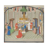 The Coronation of Baldwin I on Christmas Day 1100. Miniature from the Historia by William of Tyre Giclee Print