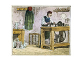 Glass Cutter Decorating Table Ware on a Carborundum Wheel, 1867 Giclee Print