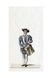 Musician, Costume Design for Shakespeare's Play, Henry VIII, 19th Century Giclee Print