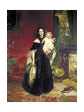 Maria Arkadyevna (Stolypin) Beck (1819-188) with Her Daughter, 1840 Giclee Print by Karl Pavlovich Briullov