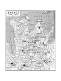 Map of Central Sydney, New South Wales, Australia, C1924 Impressão giclée