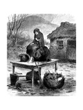 Irish Peasant Girl Guarding the Family's Last Few Possessions, 1886 Giclee Print