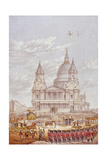 Funeral of the Duke of Wellington, St Paul's Cathedral, City of London, 18 November, 1852 Giclee Print by George Baxter
