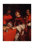 Portrait of Pope Leo X with Cardinals Giulio De' Medici and Luigi De' Rossi, Ca 1518 Reproduction procédé giclée par  Raphael
