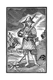 Robinson Crusoe, Chapbook Cut, 18th Century Giclee Print