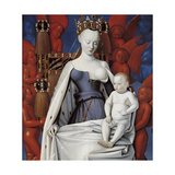 Virgin and Child Surrounded by Angels. Right Wing of Melun Diptych, C. 1450 Giclée-Druck von Jean Fouquet