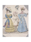 Two Women Wearing Walking Dress and Morning Dress, 1827 Giclee Print by Jules David