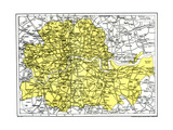 Map of London, 1924-1926 Giclee Print