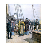 Russian Orthodox Priests Performing Ceremony of Naming the Yacht of Grand Duke Alexis, 1891 Giclee Print