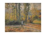 Landscape with a Hunter, Pontoise (Paysage À Pontoise Avec Un Chasseu), 1879 Reproduction procédé giclée par Camille Pissarro