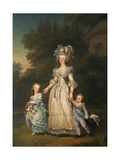 Queen Marie Antoinette of France and Two of Her Children Walking in the Park of Trianon, 1785 Giclee Print by Adolf Ulrik Wertmüller