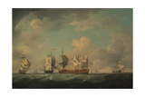 Capture of the French Treasure Ships Marquis D'Antin and Louis Erasmé, Between 1745 and 1755 Giclee Print by Charles Brooking