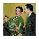 The Physicists Pyotr Kapitsa (1894-198) and Nikolay Semyonov (1896-198), 1921 Giclee Print by Boris Michaylovich Kustodiev