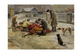 Petrograd in 1918 (From the Series of Watercolors Russian Revolutio), 1918 Giclée-Druck von Ivan Alexeyevich Vladimirov