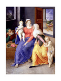 The Holy Family with John the Baptist as a Boy and Saint Elizabeth, 1556-1557 Giclee Print by Giulio Clovio