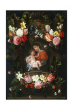 Garland of Flowers with Madonna and Child, First Third of 17th C Giclee Print by Daniel Seghers