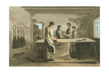 Cropping Wool to Give an Even Pile after Nap Had Been Raised, 1814 Giclee Print by George Walker