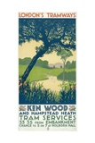 Kenwood and Hampstead Heath, London County Council (LC) Tramways Poster, 1928 Impression giclée