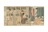 Morning Parting at the Temporary Lodgings of the Pleasure Quarter, 1801 Giclee Print by Kitagawa Utamaro