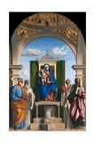 Enthroned Madonna with Child and Saints Peter, Romuald, Benedict and Paul, Ca 1595 Giclée-tryk af Giovanni Battista Cima Da Conegliano