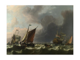 Dutch Men-Of-War and Small Vessels in a Fresh Breeze Off Enkhuizen, 1683 Stampa giclée di Ludolf Bakhuizen