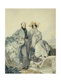 Portrait of Grigory Nikanorovich and Varvara Alexeyevna Olenin, 1827 Giclee Print by Karl Pavlovich Briullov