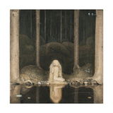 John Bauer - Princess Tuvstarr Is Still Sitting There Wistfully Looking into the Water, 1913 - Giclee Baskı