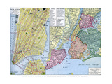 Map of New York City, USA, C1930S Giclee Print