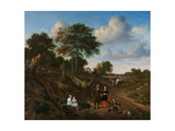 Portrait of a Couple with Two Children and a Nursemaid in a Landscape, 1667 Giclee Print by Adriaen van de Velde