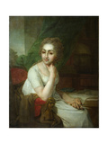 Portrait of an Unknown Woman with Compass in Her Hand (Praskovia Golitsyna) Giclee Print by Vladimir Lukich Borovikovsky