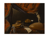 Still Life with Musical Instruments, Books and Sculpture, C. 1650 Giclée-tryk af Evaristo Baschenis
