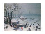 Winter Landscape with Snowfall Near Antwerp Giclée-tryk af Lucas van Valckenborch