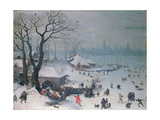 Winter Landscape with Snowfall Near Antwerp Giclee Print by Lucas van Valckenborch