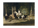 Monsieur and Madame Mosselman and their Daughters Giclee Print by Alfred De Dreux