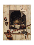 Trompe L'Oeil with Studio Wall and Vanitas Still Life, 1668 Giclee Print by Cornelis Norbertus Gijsbrechts